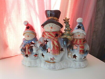 Retired Yankee Candle Ceramic Scented Tea Light Holder Xmas Tree Snowmans Rare