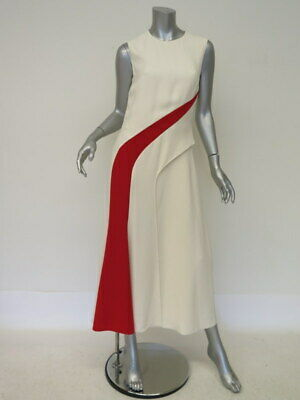 ralph lauren collection jumpsuit brielle two tone cream/red sz 6 cropped leg new