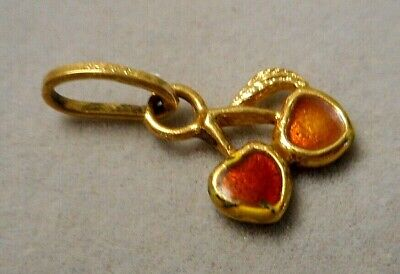 Vintage Italian 18k Yellow Gold Charm - Tiny Red Enameled Cherries 1.1g