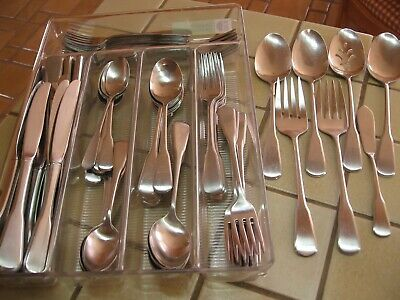 Oneida Deluxe Stainless Flatware Yankee Clipper 87 Pc Service For 16  Free Ship