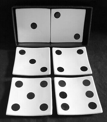 Restoration Hardware Lucky Dice Plates Set Of 6 Excellent In Box