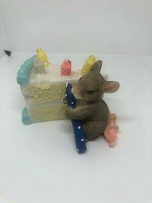 "Fritz And Floyd Charming Tails ""how Many Candles""  Mouse Birthday Cake Figurine"