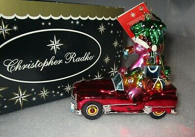 Radko Flamingo Road Santa Flamingo Palm Tree Car Christmas Ornament New Nwt+box