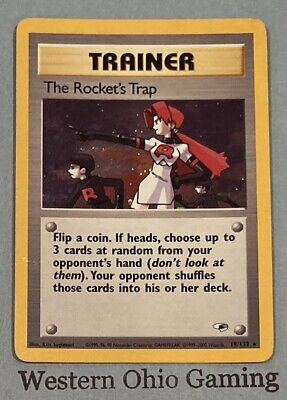 Pokemon The Rocket's Trap Trainer #19 Holo Foil Rare USED READ Gym Heroes Single