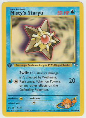 Tracking 1st Edition Gym Heroes Misty's Staryu 90/132 Pokemon Card