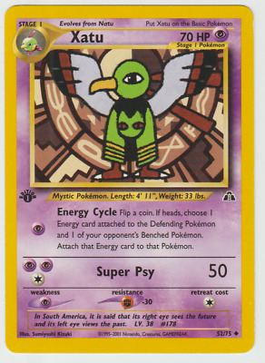 Tracking 1st Edition Neo Discovery Pokemon Card Uncommon Xatu 52/75