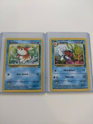 Goldeen and Seaking pokemon cards Base Set 2 76/130 and 60/130