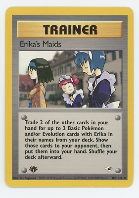 Pokemon Card Near Mint NM Gym Heroes 1st Edition Uncommon Erika's Maids 109/132