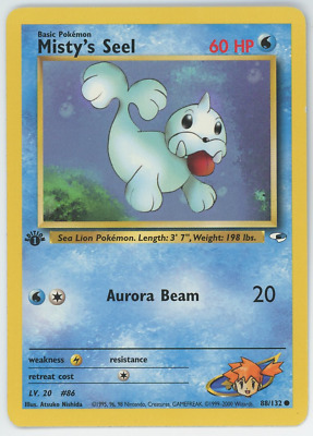 Misty's Seel 88/132 NM Pokemon Card Gym Heroes 1st Edition Common 2000 WOTC