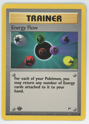 Energy Flow 122/132 NM Pokemon Card Gym Heroes 1st Edition Common 2000 WOTC