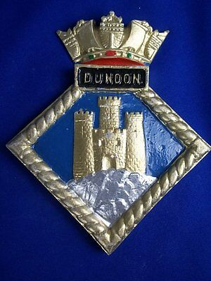 """Hms Dunoon Ships Crest, Aluminium, 7x6 """" One Off Casting, Hunt Class Minesweeper"""