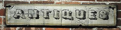 White Antiques Wood Sign - Rustic Hand Crafted Vintage Wooden Sign