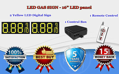 """2 X 16"""" Yellow Led Gas Price Changer Panel - Digital Signs 5 Years Warranty"""
