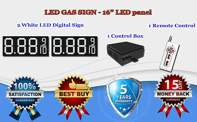 """2 X 16"""" White Led Gas Price Changer Panel - Digital Signs 5 Years Warranty"""