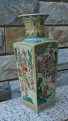 Antique Chinese Early 20c Square Sided Porcelain Polichromed Court Life Vase