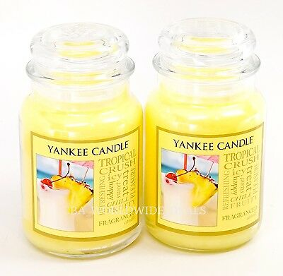 New Lot Of 2 Yankee Candle Tropical Crush Large 22 Oz Scented Jar Candles