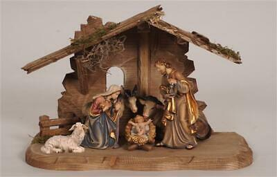 8 Piece Nativity Set - Wood Carved And Painted Figures, Creche, Scene, Christmas