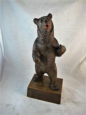 Black Forest Carved Bear, Swiss Made With Original Label,c1920