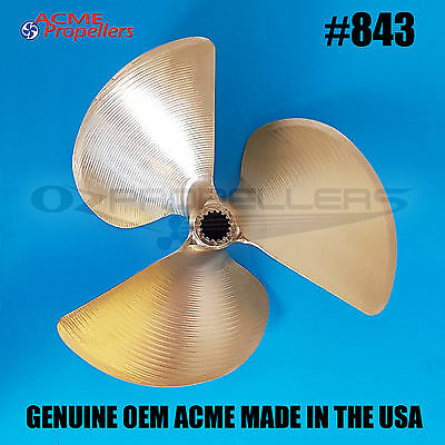 843 Acme Ski Wake Propeller Prop 13 X 12 (3 Blade) Splined Left Hand Mastercraft
