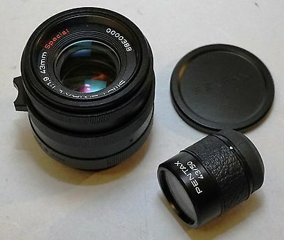 Pentax Smc 43mm F/1.9 Special L39 Leica Screw Mount Black Color W/ Viewfinder