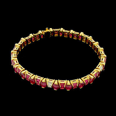 Vtg 18k 750 Ruby Diamond Baguette Oval Tennis Line Bracelet Signed 13.40 Tcw