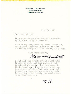 Norman Rockwell - Typed Letter Twice Signed 10/05/1971