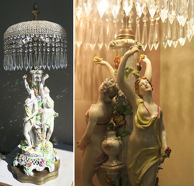 Vintage Brass German Porcelain Nude Lady Crystal Prism Lamp French Beaded Shade