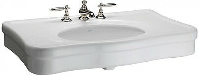 Versailles 36 In. Console Sink Basin Bathroom Fine Fire Clay Widespread In White
