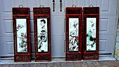 Early 20c Chinese 4 Panel Painting On Porcelain Plaques Of Birds