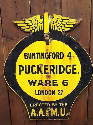 Very Rare Original Large Aa Hertfordshire Road Sign Pre War 1920s