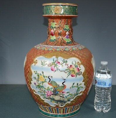 Magnificent Chinese Famille Rose Porcelain Vase Marked Qianlong Rare Tb7912