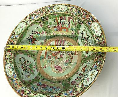 Magnificent Antique Mid-19th Century Chinese Rose Medallion Punch Bowl 19 Inches