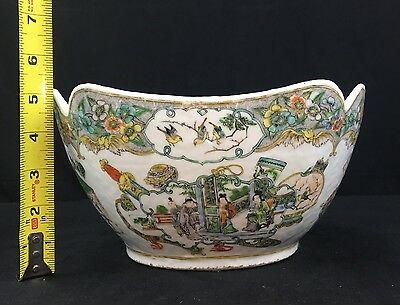 Rare Antique Kangxi Period Chinese Porcelain Bowl With People, Flowers