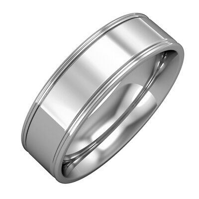 18ct white gold  6mm essential flat court track edge band wedding wedding ring