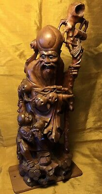 """Antique 14"""" Chinese Wood Carving Shou Xing & Boy/peaches W Porcelain Eyes/teeth"""