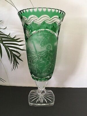 """Bohemian Cut To Clear Crystal Vase, Engraved Cameo Signed & Numbered, 16"""""""