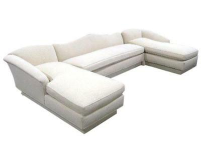 Exquisite Ivory Cotton Sectional Couch Sofa Loveseat Settee Chaise Lounge Modern