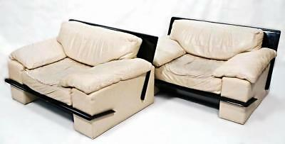 """Huge 52""""w Leather Modern Lounge Club Chairs Armchairs Settee Chaise Loveseat"""