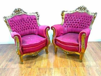 Pair 2 Antique Gilt Carved Armchairs Chairs Bergere Fauteuil Loveseat Victorian