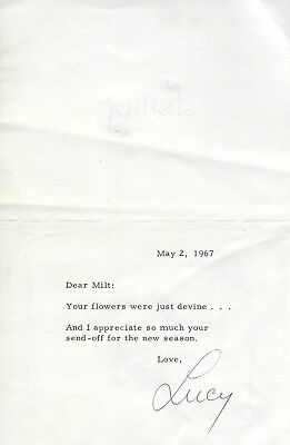 Lucille Ball Signed 1967 Letter Card Bas Beckett Coa To I Love Lucy Show Writer