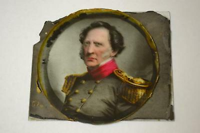 Army General Antique Winfield Scott Color Etching Under Glass West Point