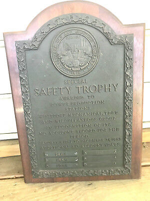 old 1961 63 collectible bronze safety trophy plaque baltimore gas