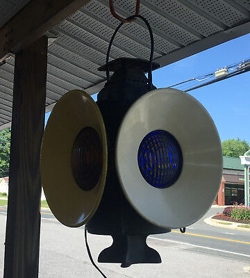Vtg Adlake Non Sweating Railroad Switch Light 4 Way Converted For Outlet Use