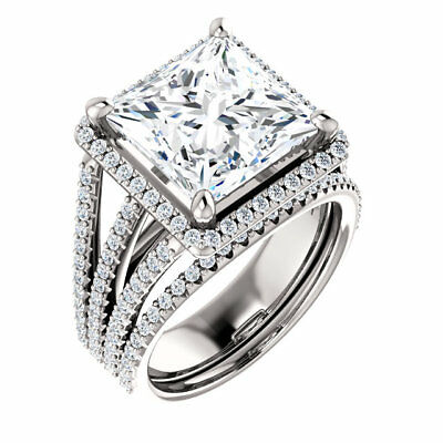 2.60 ct square moissanite forever one halo triple band pave engagement ring