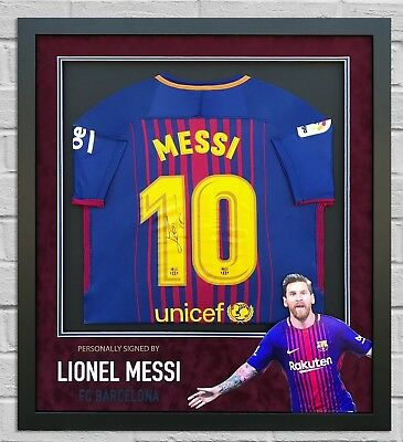 Lionel Messi Hand Signed Barcelona Shirt Framed Autograph Genuine Aftal (a)