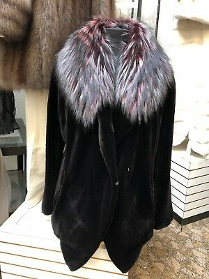 Sheared Mink Fitted Jacket With Raccoon Lapel