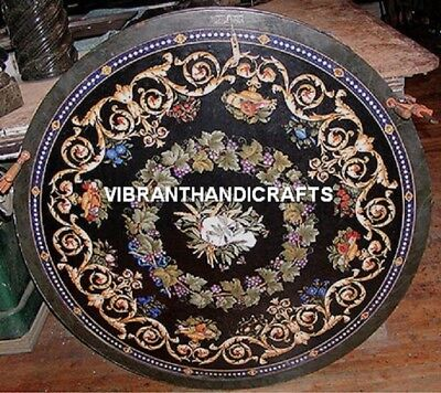 outdoor round marble center table top floral fine inlay mosaic collectible h3796
