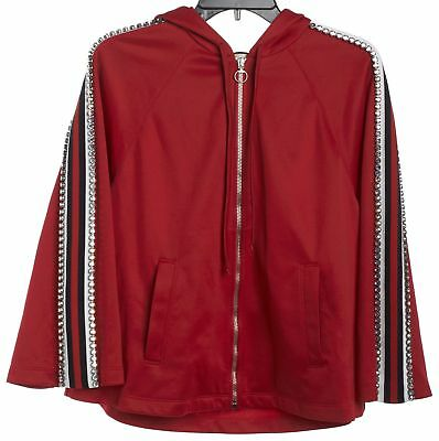 gucci red striped 2018 crystal embellished jersey zip up hoodie jacket size s