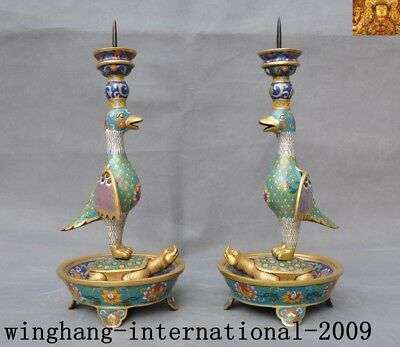 "15""china Bronze Cloisonne Enamel 24k Gold Bird Turtle Candlesticks Candle Holder"