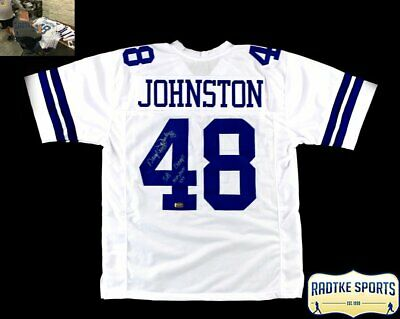 """Daryl Johnston Signed Dallas White Custom Jersey With """"moose"""" And """"sb Champs"""""""